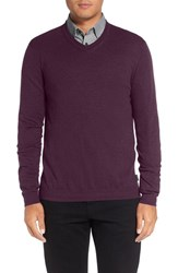 Ted Baker Men's London 'Cashguy' Trim Fit V Neck Sweater Deep Purple
