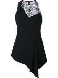 Roland Mouret Lace Inset Sleeveless Blouse Black