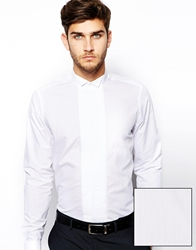 Asos Smart Tux Shirt In Long Sleeve With Pleat Front And Wing Collar White
