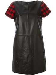 Boutique Moschino Houndstooth Sleeve Leather Dress Black