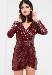 Missguided Petite Exclusive Burgundy Sequin Plunge Wrap Dress