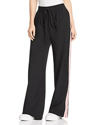 Milly Italian Cady Track Pants Black Cream Fluo Pink