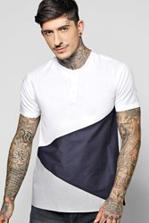Boohoo Block Shirt With Jersey Panel White