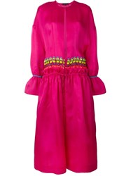Manish Arora Beaded Detail Long Coat Pink And Purple