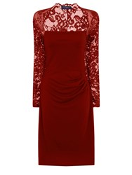 Hotsquash Lace Sleeved Dress In Clever Fabric Red