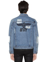 Boy London Distressed Logo Embroidered Denim Jacket Blue