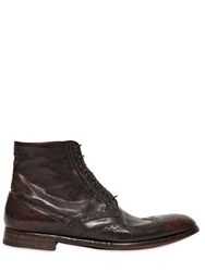 Alberto Fasciani English Brogue Hand Washed Leather Boots Dark Brown