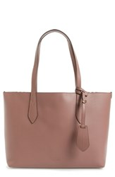 Burberry Small Reversible Haymarket Check And Leather Tote Purple Light Elderberry