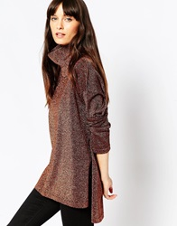 Asos Knit Tunic With High Neck In Metallic Bronze