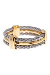Alor 18K Yellow Gold And Stainless Steel Three Band Ring Size 10 Metallic