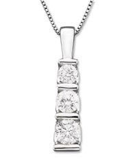 Macy's Three Stone Diamond Pendant Necklace In 14K White Gold 1 2 Ct. T.W.