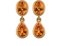 Malcolm Betts Orange Garnet Double Drop Earrings No Color