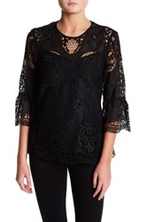 Ro And De 3 4 Sleeve Lace Knit Blouse Black