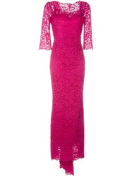 Dolce And Gabbana Floral Lace Gown Pink And Purple