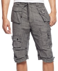 Sean John Classic Flight Cargo Shorts Black Chambray