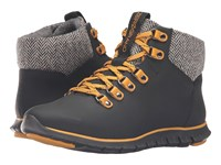 Cole Haan Zerogrand Hiker Boot Black Leather Natural Tweed Black Women's Hiking Boots