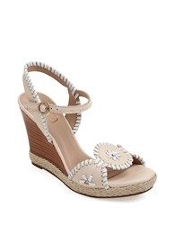 Jack Rogers Clare Rope Leather Wedge Sandals Bone