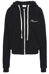 Re Done Embroidered French Cotton Terry Hoodie Black