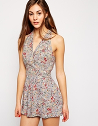Love Pleated Bust Romper In Floral Print Greyfloral