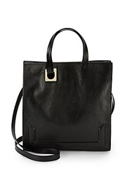 Halston Solid Leather Convertible Crossbody Tote Black