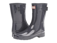Hunter Original Refined Short Gloss Dark Slate Women's Rain Boots Gray