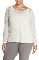 Plus Size Women's Eileen Fisher Organic Linen And Nylon Sheer Boxy Sweater