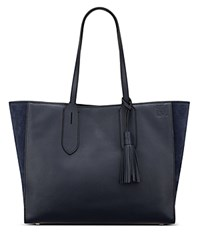 Anne Klein Julia East West Leather Tote Navy Gold