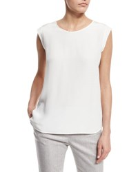 Loro Piana Mae Cap Sleeve Scoop Neck Blouse White