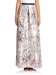 Phoebe Couture Printed Jacquard Maxi Skirt Silver Multi