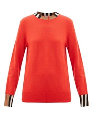 Burberry Eyre Icon Striped Cashmere Sweater Red