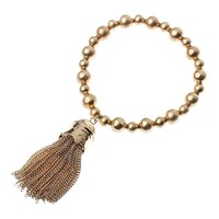 Adele Marie Bead Chain Tassel Stretch Bracelet Gold
