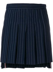 Thom Browne Chalk Stripe Pleated Mini Skirt Blue