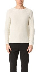 Vince Thermal Stitch Crew Neck Sweater Off White