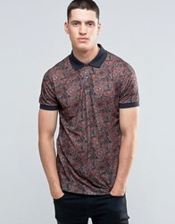 Pretty Green Polo Shirt With Paisley Print In Slim Fit Black Black