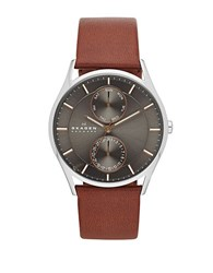 Skagen Mens Silvertone And Leather Chronograph Watch Brown