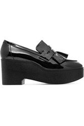Robert Clergerie Woman Verni Ruffled Patent Leather Platform Loafers Black