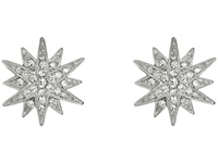 Kenneth Jay Lane Rhodium And Rhinestone Starburst Clip Earrings Siver Crystal Earring Silver