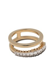 As29 18Kt Yellow Gold White Diamond Icicle Double Pinky Ring