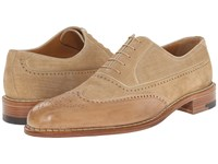 A. Testoni Linen Suede Delave Calf Wingtip Oxford Nude Men's Lace Up Wing Tip Shoes Beige