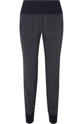 Theory Jersey Trimmed Pinstriped Silk Crepe De Chine Track Pants Navy