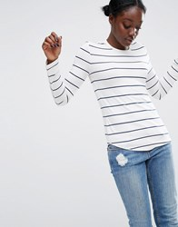 Asos Crew Neck T Shirt In Stripe With Long Sleeve Cream Navy Multi