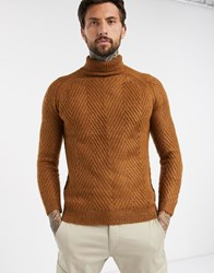 Bershka Chunky Cable Knit Sweater With Roll Neck In Rust Brown