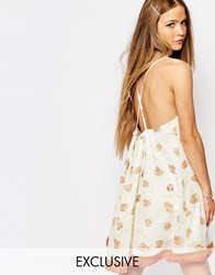 Reclaimed Vintage Cami Dress With Bow Back Detail Cream