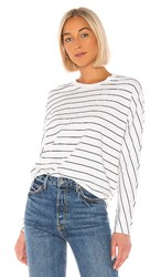 Frank And Eileen Tee Lab Oversized Continuous Sweatshirt In White. White And Black Stripe