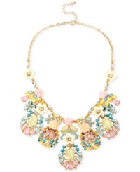 Macy's M. Haskell Gold Tone Pastel Flower And Stone Frontal Necklace