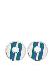 Marni Striped Leather Clip On Earrings Blue
