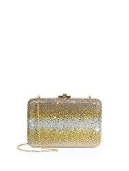 Judith Leiber Slim Ombre Crystal Box Bag Black Diamond Champagne