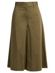 Maison Martin Margiela Wide Leg Cotton Poplin Cropped Trousers Khaki