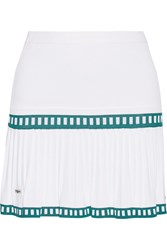 L'etoile Sport Medea Two Tone Pleated Stretch Knit Tennis Skirt White