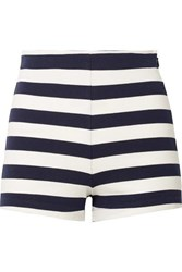 Mds Stripes Lucy Striped Cotton Jersey Shorts Navy